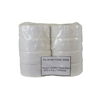 Jumbo Toilet Rolls Virgin 9cm x 8 Rolls (Poly Bag)